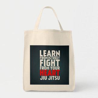 Learn from the street Jiu Jitsu black Canvas Bags