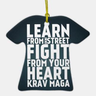 Learn from the Street Krav Maga black Double-Sided T-Shirt Ceramic Christmas Ornament