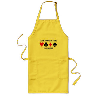 Learn How To Be Stoic Play Bridge (Card Suits) Long Apron