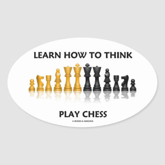 Learn How To Think Play Chess Reflective Chess Set Oval Sticker