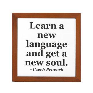 Learn new language soul Quote Desk Organizer