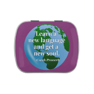 Learn new language soul Quote. Globe Jelly Belly Candy Tins