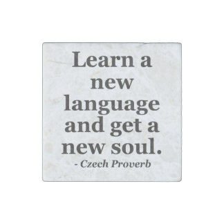 Learn new language soul Quote Stone Magnet