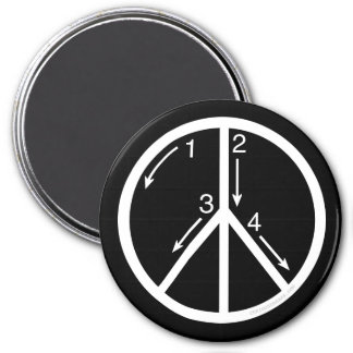 Learn Peace 3 Inch Round Magnet