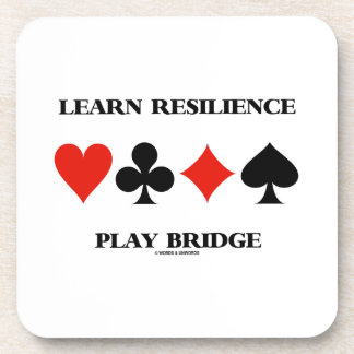 Learn Resilience Play Bridge (Four Card Suits) Beverage Coasters