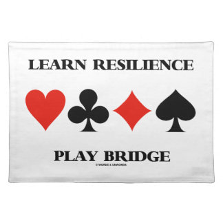 Learn Resilience Play Bridge (Four Card Suits) Cloth Placemat