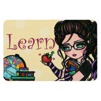 """Learn"" Smartie Pants Girl Original Art Magnet"