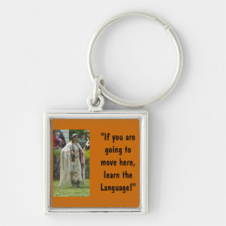 Learn the Language Silver-Colored Square Keychain