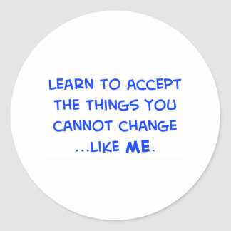 learn to accept the things you cannot change classic round sticker