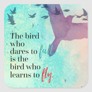 Learn To Fly Quote Square Sticker