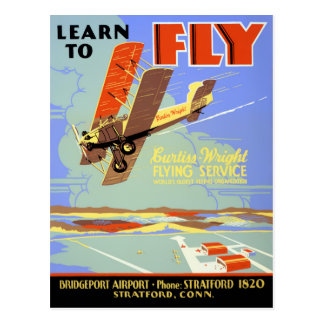 Learn to fly Vintage Poster Restored Postcard