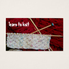 Learn To Knit Business Card Template at Zazzle