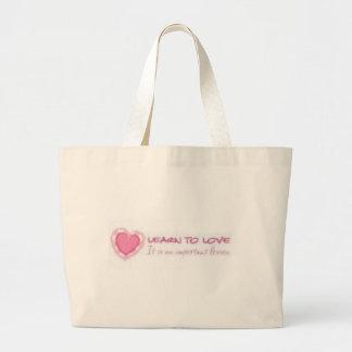 Learn to love <3 jumbo tote bag