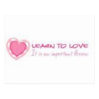 Learn to love <3 postcard