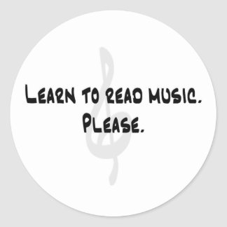 Learn to Read Music Classic Round Sticker