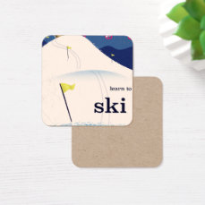 learn to ski vintage cartoon. square business card