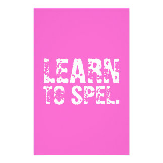 LEARN TO SPEL. white text Customized Stationery