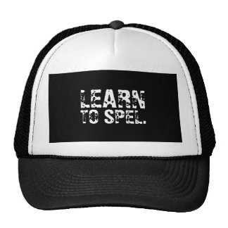 LEARN TO SPEL. white text Mesh Hat