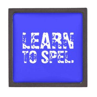 LEARN TO SPEL. white text Premium Trinket Boxes