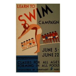 Learn To Swim Campaign Vintage Poster