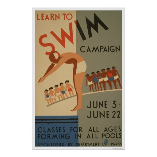Learn To Swim NYC 1940 WPA Poster