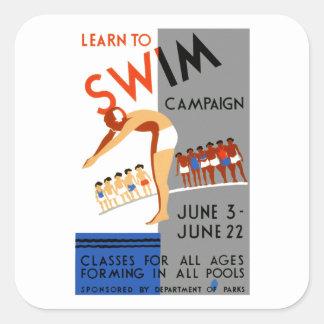 Learn To Swim Square Sticker