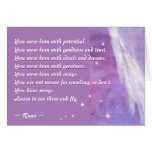 Learn to use your Wings (Rumi Quote) Greeting Card