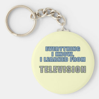 Learned from Television Basic Round Button Keychain