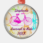 Learned to Ride Bike Keepsake and Year Round Metal Christmas Ornament