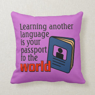Learning another language dual sides throw pillow
