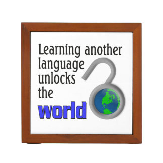 Learning another language unlocks the world Pencil/Pen holder