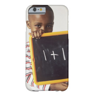 Learning arithmetic. 4-year-old boy holding a barely there iPhone 6 case