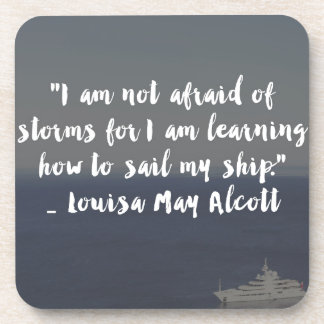 """Learning How to Sail My Ship"" Cursive Quote Beverage Coaster"