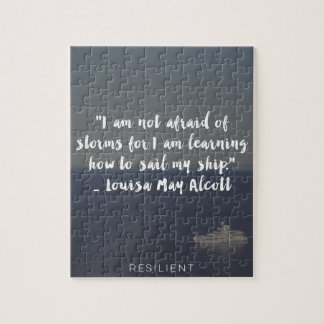 """Learning How to Sail My Ship"" Cursive Quote Jigsaw Puzzle"