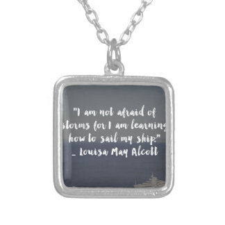 """Learning How to Sail My Ship"" Cursive Quote Silver Plated Necklace"