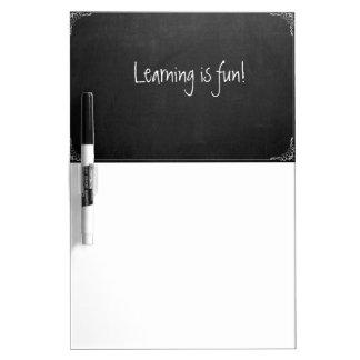Learning is fun, chalkboard look whiteboard