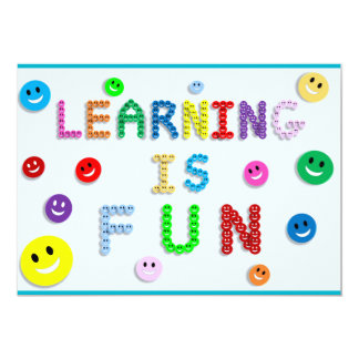 LEARNING IS FUN HAPPY FACES EDUCATION SCHOOL MOTTO CARD