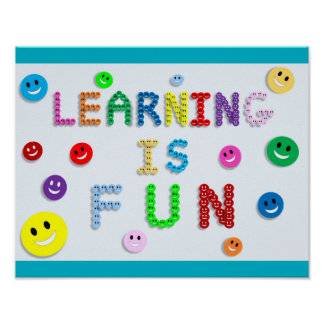 LEARNING IS FUN HAPPY FACES EDUCATION SCHOOL MOTTO POSTER