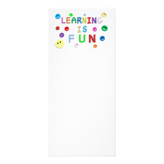 LEARNING IS FUN HAPPY FACES EDUCATION SCHOOL MOTTO RACK CARD