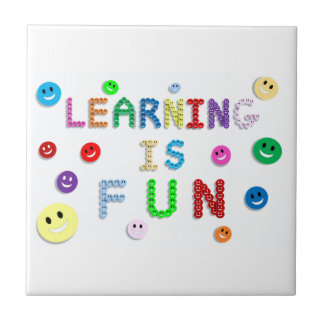 LEARNING IS FUN HAPPY FACES EDUCATION SCHOOL MOTTO TILE
