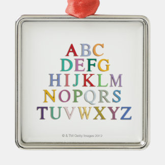 learning, letters, alphabet square metal christmas ornament