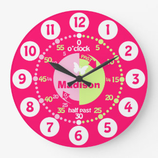 Learning time red pink green custom girls clock