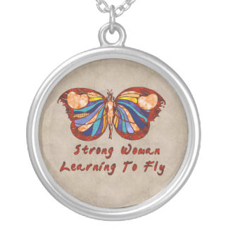 Learning To Fly Round Pendant Necklace