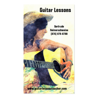 Learning to Play -Acoustic Guitar  Music Lessons Double-Sided Standard Business Cards (Pack Of 100)