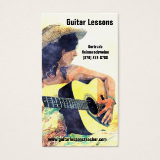 Learning to Play -Acoustic Guitar  Music Lessons Business Card