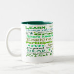 Learning words collage cup coffee mugs
