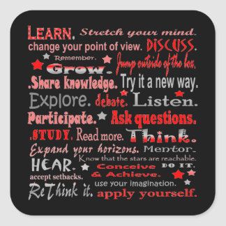 learning words collage in black square sticker