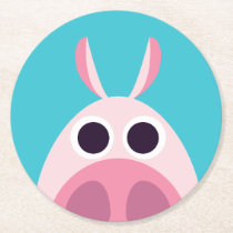 Leary the Pig Round Paper Coaster