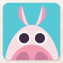 Leary the Pig Square Paper Coaster