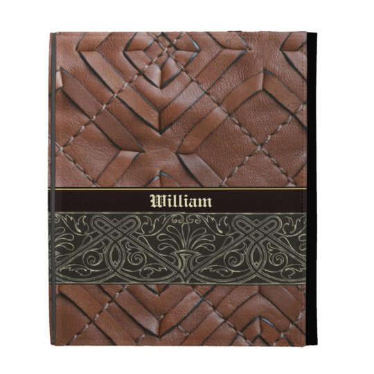Leather and Celtic Metal Pattern Cover for iPad iPad Folio Cover